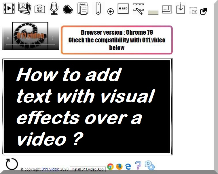 How to add text with visual effects over a video ?
